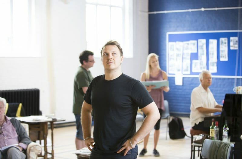 Benjamin Chandler in rehearsals for THE HABIT OF ART (c) James Findlay