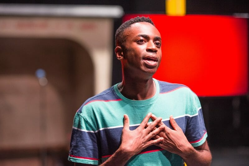 Kwaku Mills as Eddy in The End of Eddy. A Unicorn Theatre and Untitled Projects Production. Photo by Tommy Ga-Ken Wan
