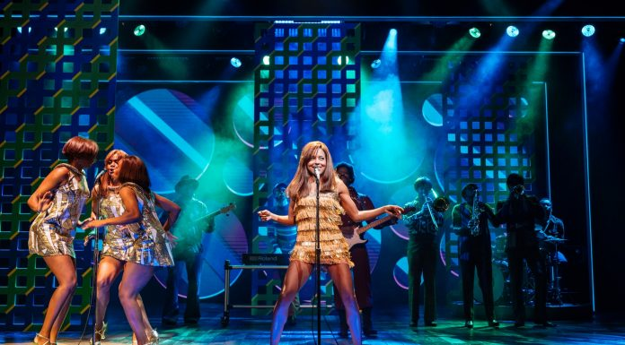 Adrienne Warren (Tina Turner) and the Cast of Tina. Photo by Manuel Harlan