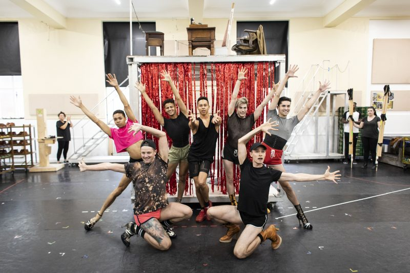 Callum-Francis-Lola-and-cast-in-rehearsal-for-Kinky-Boots-UK-Tour-Photo-Credit-Helen-Maybanks