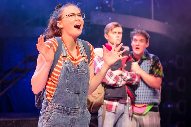 Eugenius Laura Baldwin as Janey, Rob Houchen as Eugene and Dan Buckley as Feris Photo Scott Rylander