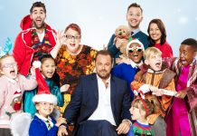 NATIVITY! THE MUSICAL. Danny Dyer as 'Hollywood Producer', Jo Brand as 'The Critic' and the Children of St Bernadette's School. Photo by Simon Turtle