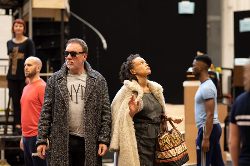 . Patrick Page Hades and Amber Gray Persephone in rehearsal for Hadestown National Theatre c Helen Maybanks