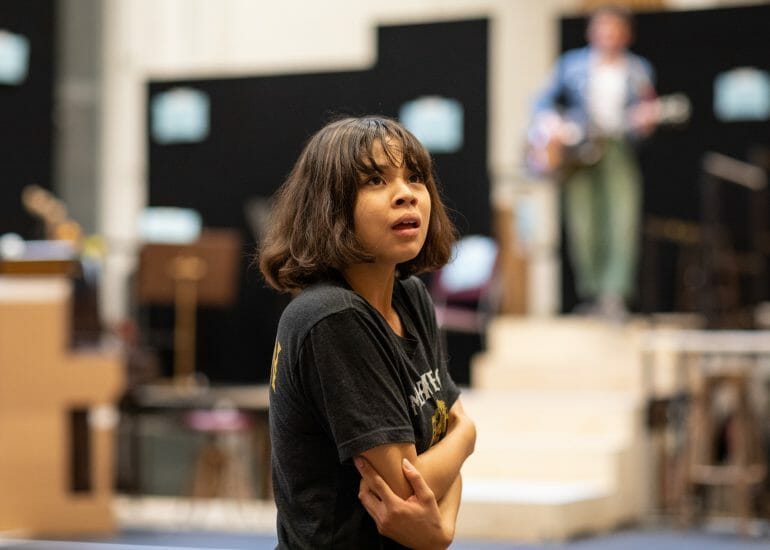. Eva Noblezada Eurydice in rehearsal for Hadestown National Theatre c Helen Maybanks