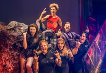 Christina Bennington, Jordan Luke Gage, Rob Fowler & Sharon Sexton from Bat Out Of Hell - The Musical meet UK veterans Michelle Partington & Michelle Turner c. Matt Crockett