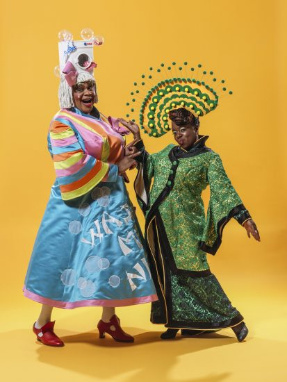 Clive Rowe as Widow Twankey and Tameka Empson as The Empress in Hackney Empires th anniversary pantomime Aladdin. Credit Perou