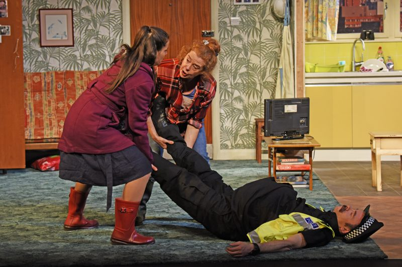 Suzanne Ahmet as Maggie Lisa Howard as Anthea and Michael Hugo as Sergeant photo by Nobby Clarkt©nc