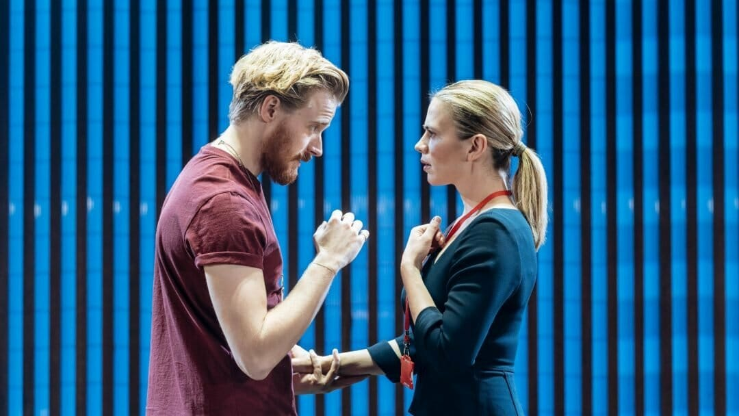 Jack Lowden Angelo and Hayley Atwell Isabella in Measure for Measure at the Donmar Warehouse c. Manuel Harlan
