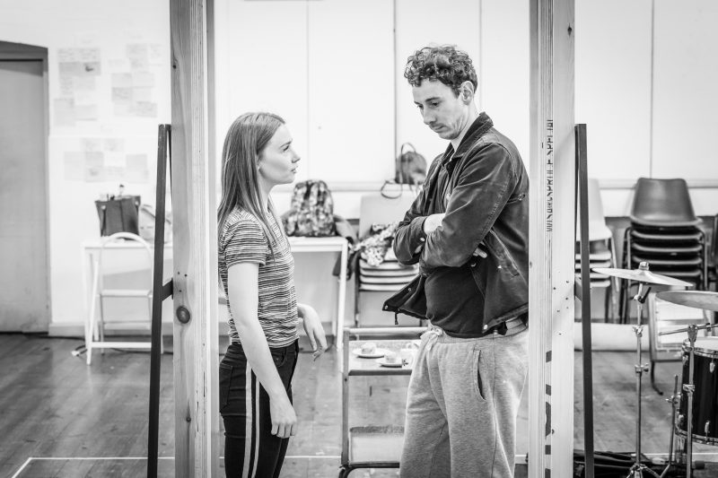 Jessica Barden and Al Weaver in rehearsals for Pinter Four. Image by Marc Brenner Pinter FOUR REH