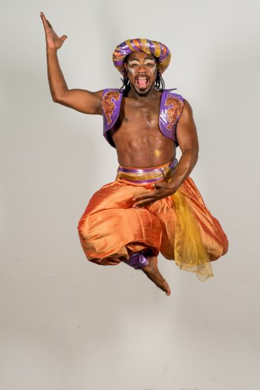 Kat B as Genie of the Lamp in Hackney Empires th anniversary pantomime Aladdin. Credit Robert Workman