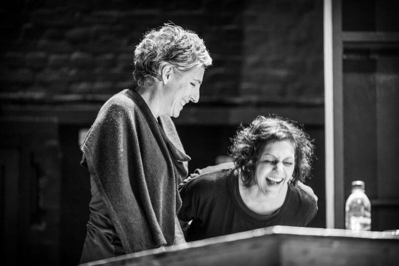 Tamsin Greig and Meera Syal in rehearsals for Pinter Three photo Marc Brenner
