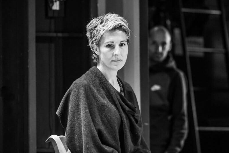 Tamsin Greig in rehearsals for Pinter Three photo Marc Brenner
