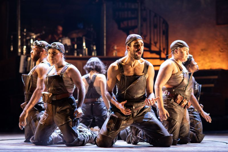 . The company of Hadestown at National Theatre c Helen Maybanks