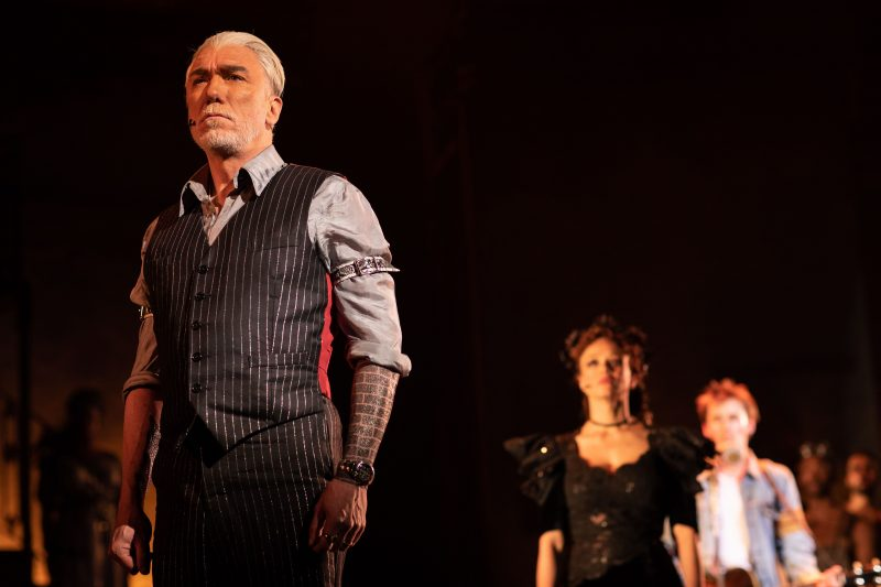 . Patrick Page Hades Amber Gray Persephone and Reeve Carney Orpheus in Hadestown at National Theatre c Helen Maybanks