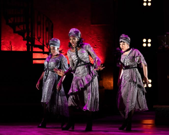 . Carly Mercedes Dyer Gloria Onitiri and Rosie Fletcher The Fates in Hadestown at National Theatre c Helen Maybanks