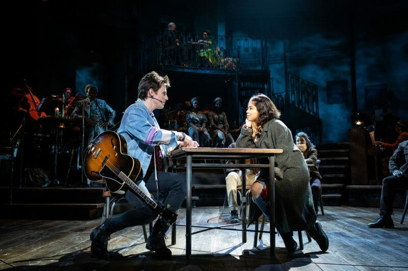 . Eva Noblezada Eurydice and Reeve Carney Orpheus in Hadestown at National Theatre c Helen Maybanks