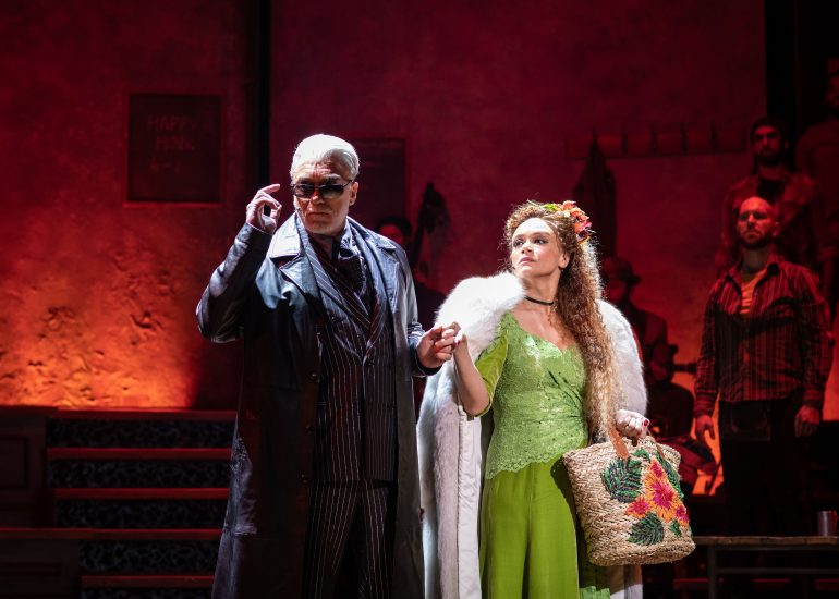 . Patrick Page Hades and Amber Gray Persephone in Hadestown at National Theatre c Helen Maybanks