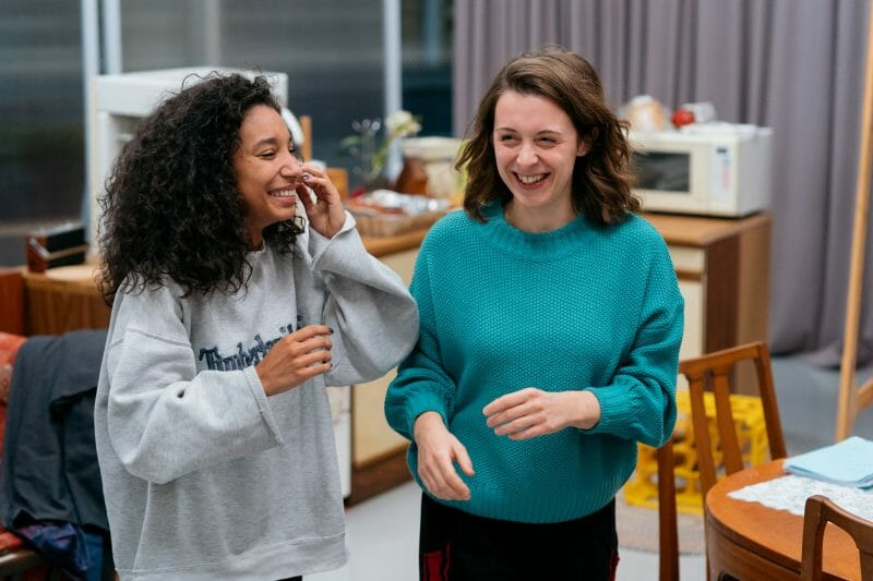 Adele James Rebecca Todd in rehearsals for Nine Night Photo Helen Murray