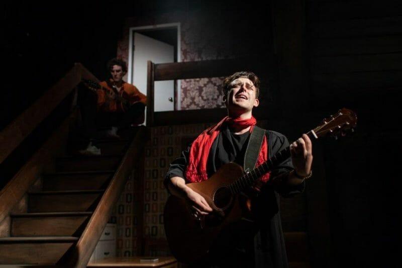 Chasing Bono Soho Theatre LtoR Donal Finn Ivan Neil McNamee Niall. Photography by Helen Maybanks