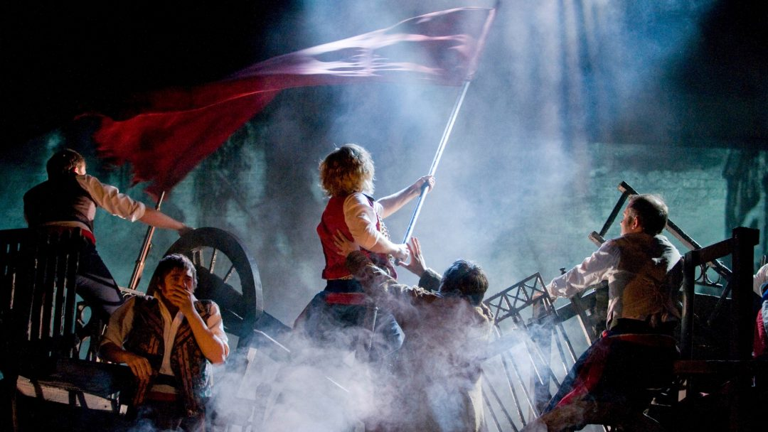 LES MISERABLES. Barricades Photo by Michael Le Poer Trench. Copyright CML