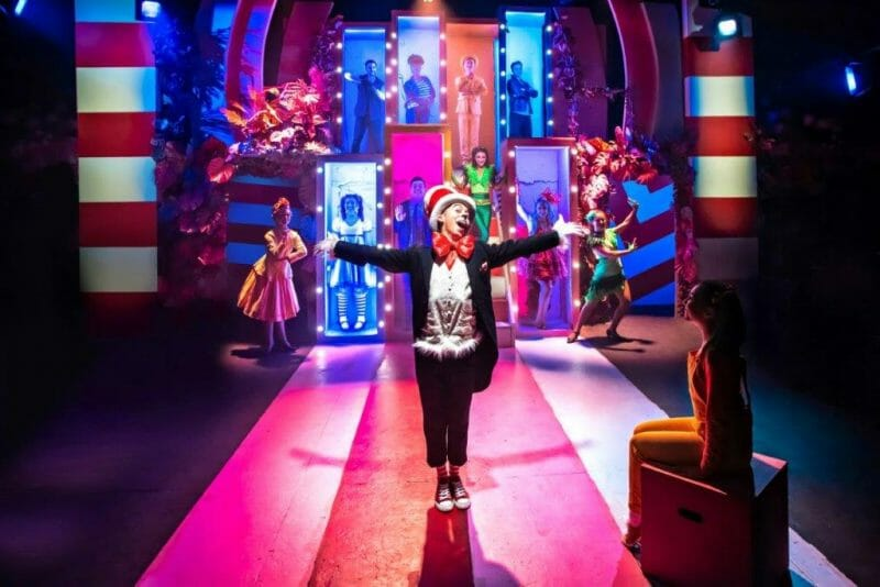 Marc Pickering and the cast of Seussical The Musical Southwark Playhouse courtesy of Adam Trigg