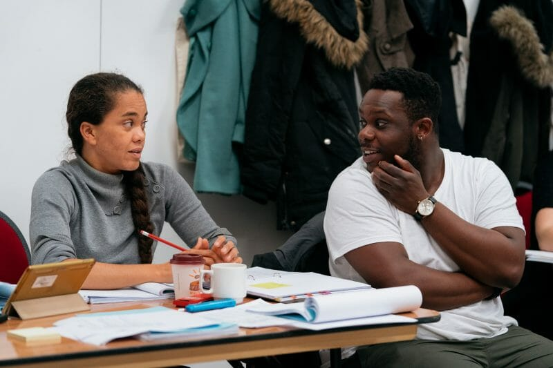 Shelley Maxwell Roy Alexander Weise. in rehearsals for Nine Night Photo Helen Murray