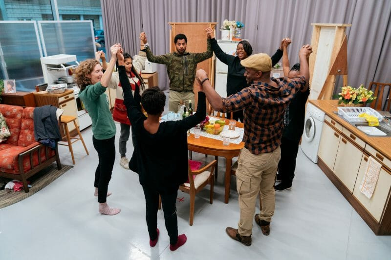 The Full Company in rehearsals for Nine Night Photo Helen Murray
