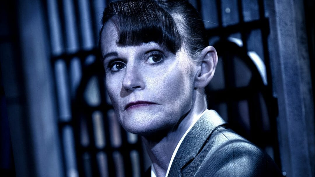 gwyneth strong as mrs boyle in the mousetrap uk tour. credit tristram kenton