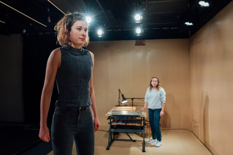 l r Sophie Steer and Leah Brotherhead in Lands at the Bush Theatre Bush Lands Production HelenMurray