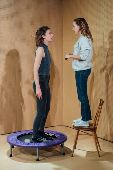 l r Sophie Steer and Leah Brotherhead in Lands at the Bush Theatre. Photo Helen Murray Bush Lands Production HelenMurray