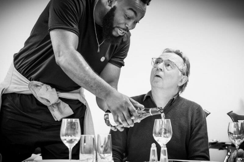 Abraham Popoola and Ron Cook in rehearsals for Pinter . Photo Marc Brenner. REH