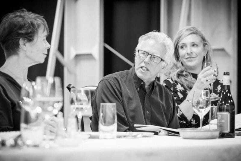 Celia Imrie Phil Davis and Tracy Ann Oberman in rehearsals for Pinter . Photo Marc Brenner. REH