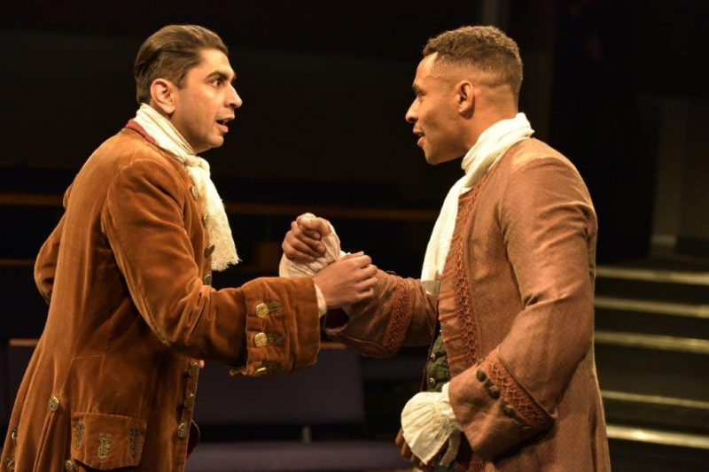 Dharmesh Patel Careless and Lloyd Everitt Mellefont in THE DOUBLE DEALER by William Congreve Orange Tree Theatre photo by Robert Day