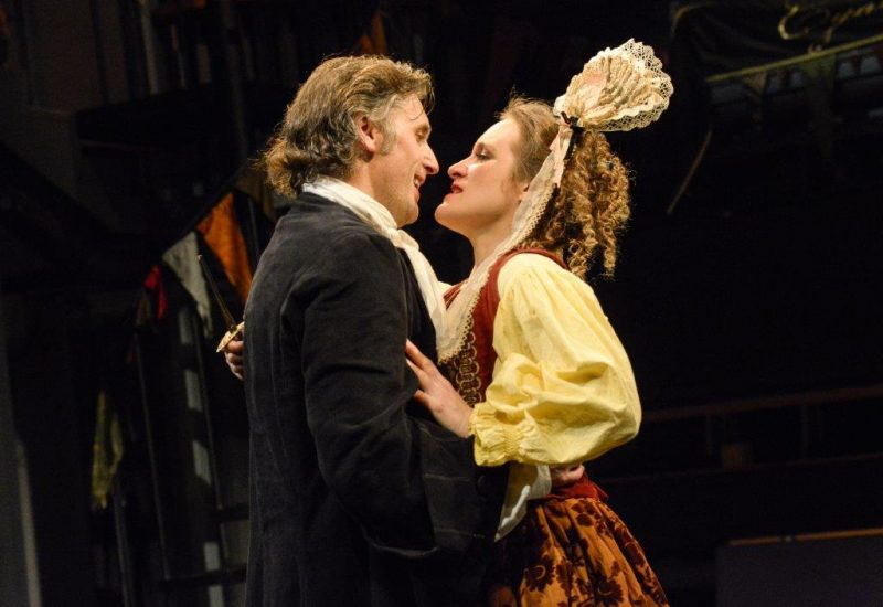 Edward MacLiam Maskwell and Zoë Waites Lady Touchwood in THE DOUBLE DEALER by William Congreve Orange Tree Theatre photo by Robert Day