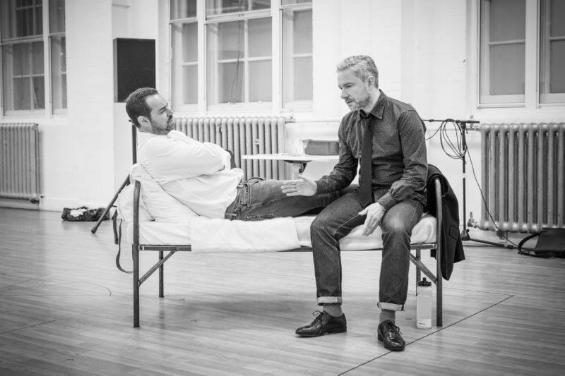 Danny Dyer and Martin Freeman in rehearsal for Pinter Seven Image by Marc Brenner