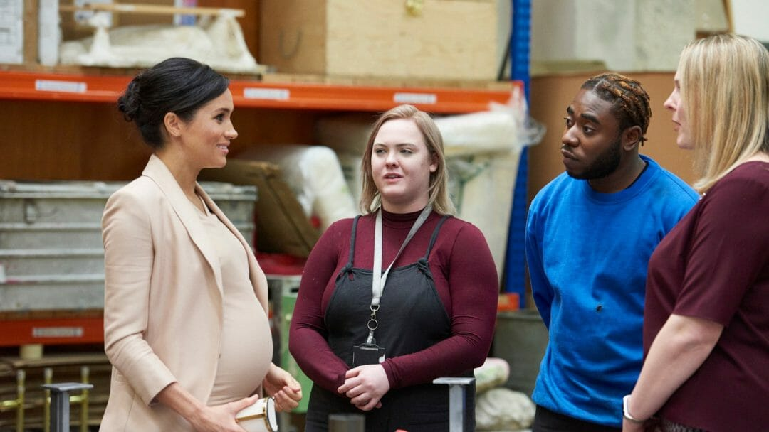 Duchess of Sussex Sophie Naylor Camile Walters and Kate John at the National Theatre c Emilie Bailey