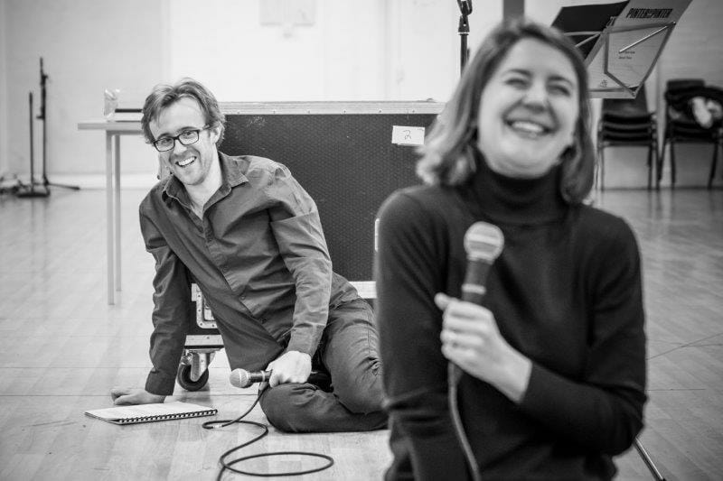 John Heffernan and Gemma Whelan in rehearsal for Pinter Seven Image by Marc Brenner.