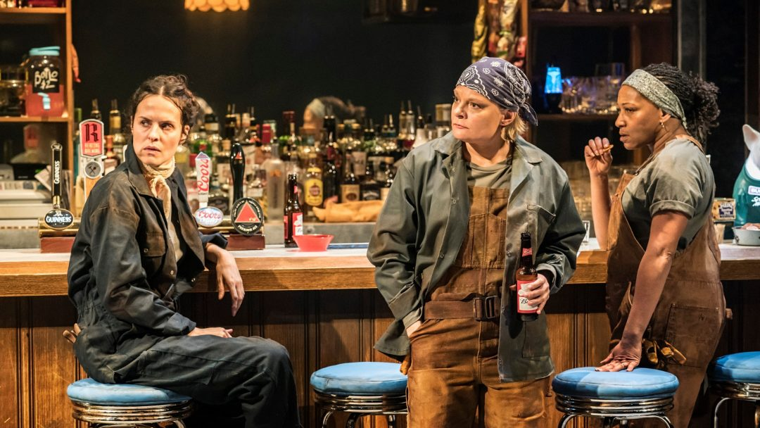 Leanne Best Jessie Martha Plimpton Tracey Clare Perkins Cynthia in Sweat at the Donmar Warehouse Photo Johan Persson