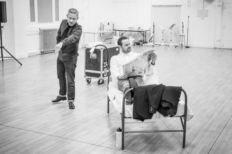 Martni Freeman and Danny Dyer in rehearsal for Pinter Seven Image by Marc Brenner