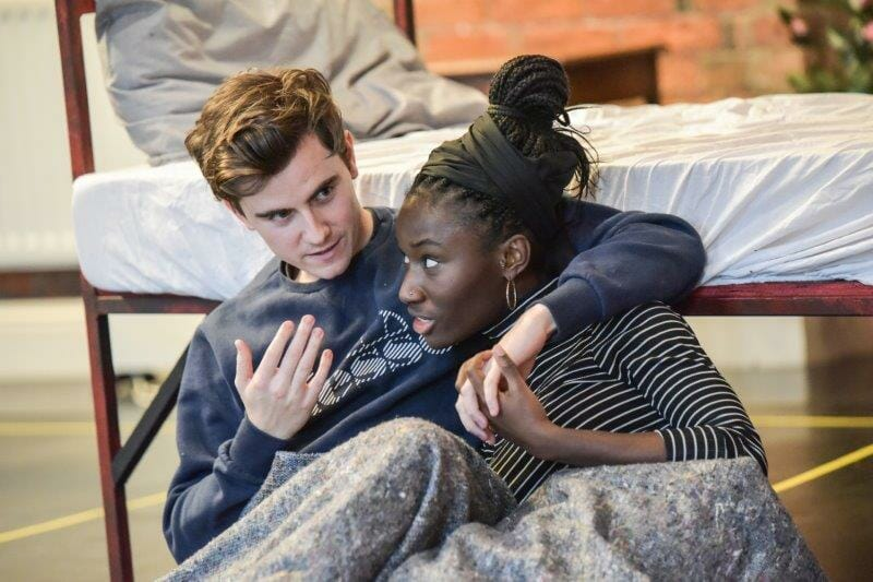 Noughts Crosses in rehearsal Billy Harris as Callum and Heather Agyepong as Sephy Photo Robert Day
