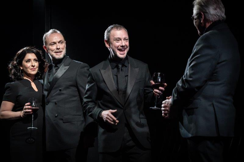 l r Tracy Ann Oberman Gary Kemp John Simm and Phil Davis in Pinter Six. Photo Credit Marc Brenner.
