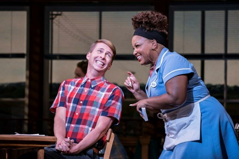 . Waitress Adelphi Theatre Jack McBrayer Ogie and Marisha Wallace Becky Photographer Johan Persson