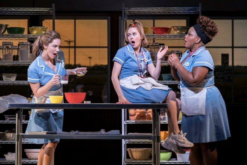 . Waitress Adelphi Theatre Katharine McPhee Jenna Laura Baldwin Dawn and Marisha Wallace Becky Photographer Johan Persson