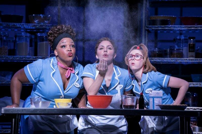 . Waitress Adelphi Theatre Marisha Wallace Becky Katharine McPhee Jenna and Laura Baldwin Dawn Photographer Johan Persson
