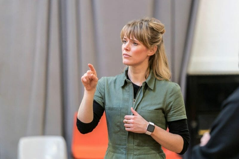 Kate Hewitt in rehearsal or Jesus Hopped the A Train c Johan Persson