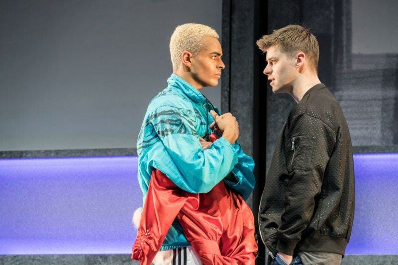 Layton Williams Jamie and Luke Baker Dean Paxton in Everybodys Talking About Jamie at the Apollo Theatre. Photo credit Johan Perrson