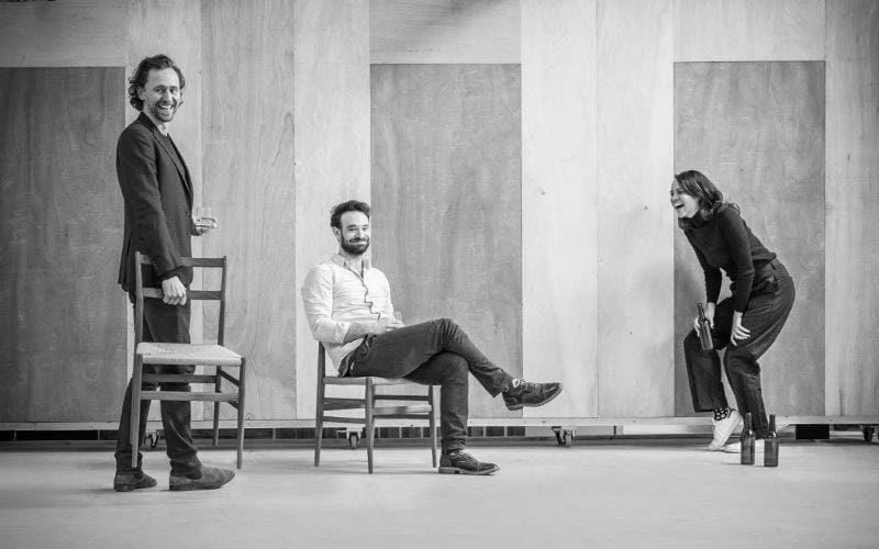 l r Tom Hiddleston Charlie Cox and Zawe Ashton in rehearsal Photo credit Marc Brenner