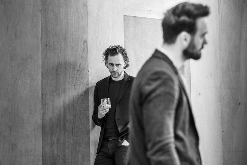 l r Tom Hiddleston and Charlie Cox in rehearsal Photo credit Marc Brenner.