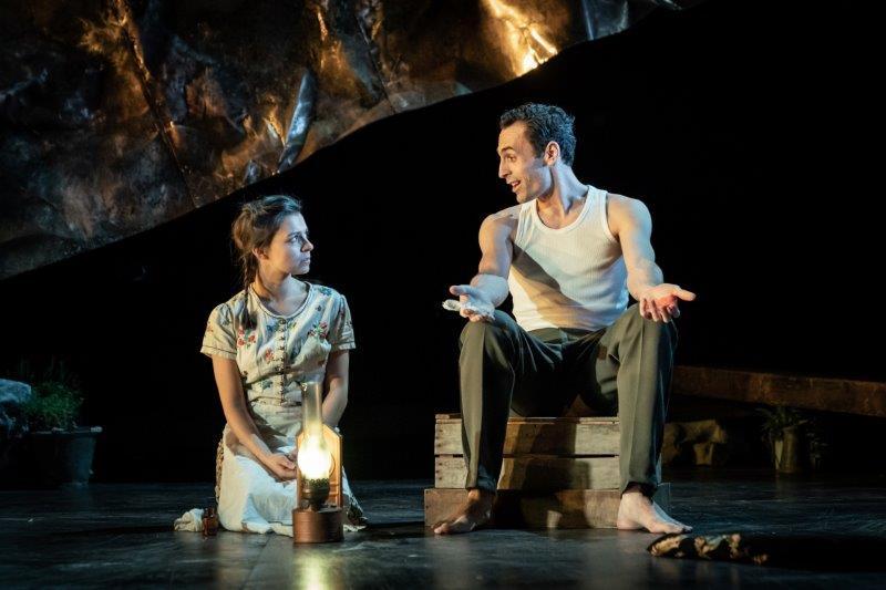 Madison Clare as Pelagia Alex Mugnaioni as Captain Corelli in Captain Corellis Mandolin credit Marc Brenner