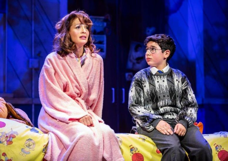 Amy Ellen Richardson as Pauline and Aaron Gelkoff as Adrian in Adrian Mole the Musical credit Pamela Raith